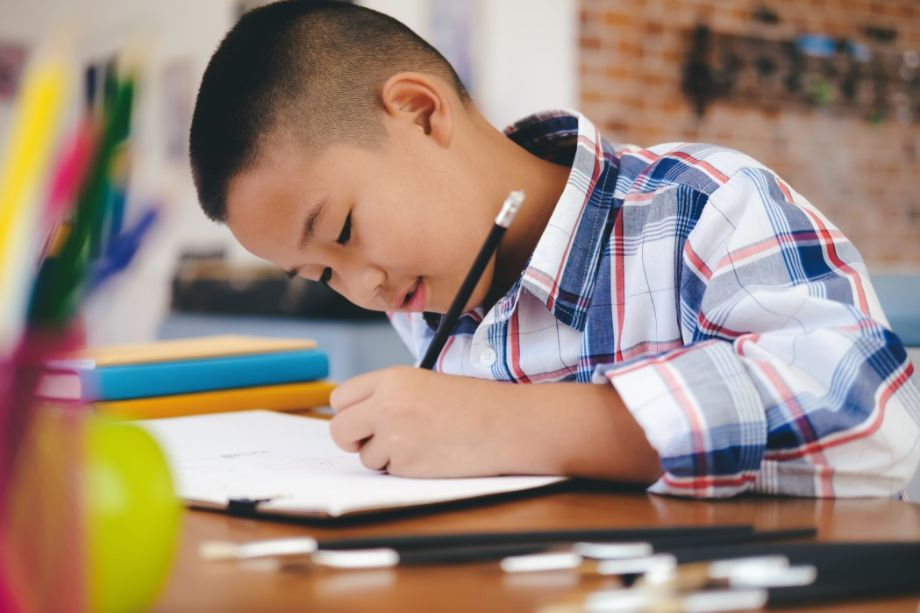 Boy learning effectively during private home tuition
