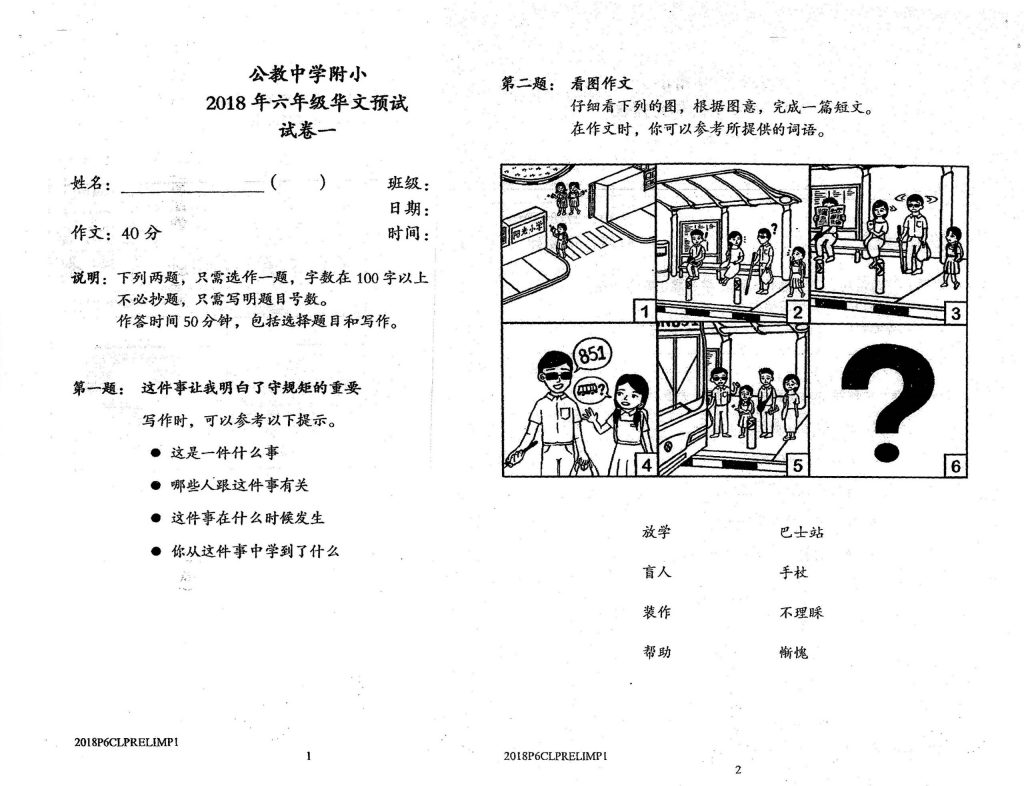 PSLE Higher Chinese Tuition - Chinese P1